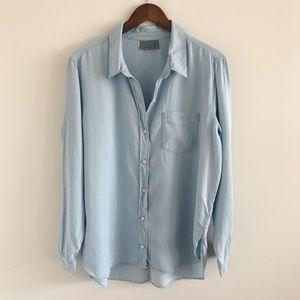 Athleta Bootjack Chambray Indigo Blue Shirt XL